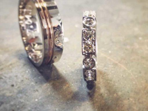 ALLIANCE «LIGNE ART DÉCO» Or blanc & Diamants