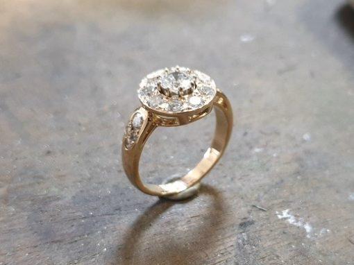 BAGUE ENTOURAGE BRILLANTS Or jaune & Diamants