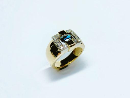 BAGUE JONC AJOURÉE Or bicolore, Saphir & Diamants