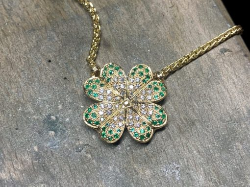 COLLIER TRÈFLE OR Tsavorites & Diamants