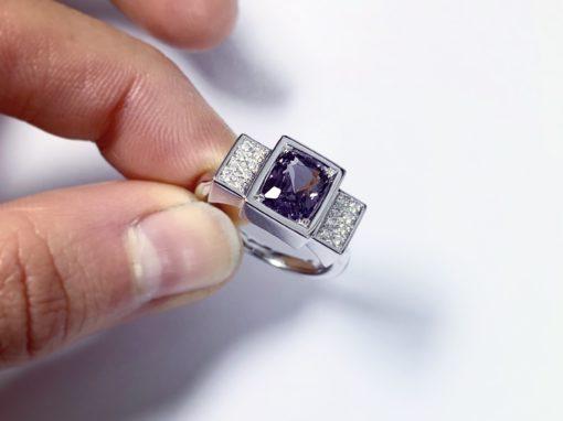 BAGUE ART DÉCO Or, Spinelle & Diamants